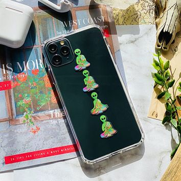 Meditating Aliens Clear Phone Case