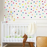 121 Mini 2 inch Rainbow Colors Polka Dot Fabric Wall Decals Repositionable, Peel and Stick