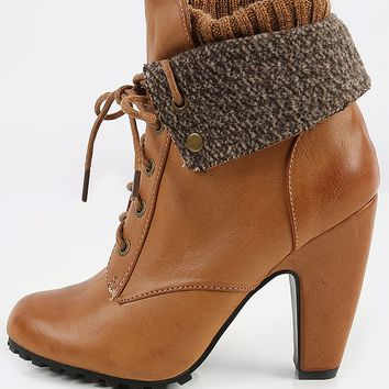 Bamboo Mozza-19L Leatherette Knit Cuff Booties