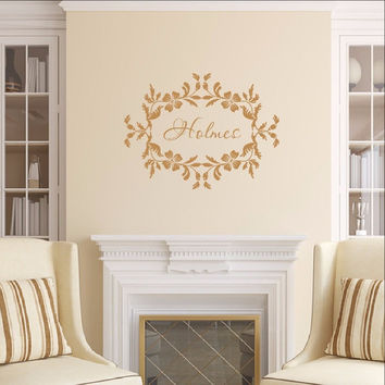Last Name Wall Decal - Family Name Wall Decal - Floral Frame Decal 22534