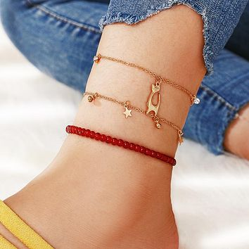 Luxury Red Beaded Anklets for Women Lovely Cat Star Feet Bracelets Clear Crystal Stone Barefoot Sandals Jewelry