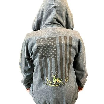 Country Life USA Camo Deer Flag Full Zip Unisex Hoodie T-shirt