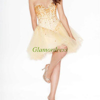 sweetheart cocktail dresses / short homecoming dress / organza gowns for prom with rhinestones / amazing holiday party dress