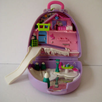 Vintage Polly Pocket Snow Mountain Compact Suitcase 1996 Miniature Toy Clean NO Figures Included USED