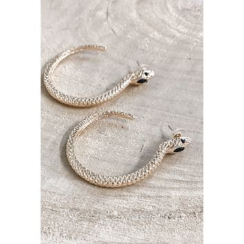 Snake It Or Break It Gold Snake Hoop Earrings