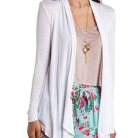 Lightweight Long Cascade Cardigan by Charlotte Russe - White