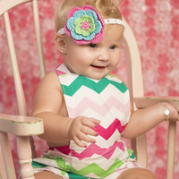 Chevron Rainbow Greens Baby Bubble Ruffle Romper Sun Suit