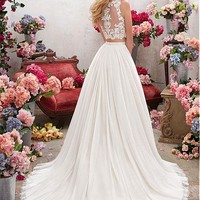 [138.99] Chic Tulle & Satin Bateau Neckline Two-piece A-Line Wedding Dresses With Embroidery & Beadings - dressilyme.com