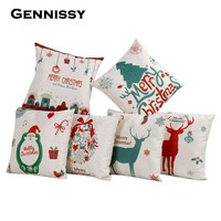 GENNISSY Hot New Christmas Decorations For Home Vintage Christmas Letter Sofa Bed Pillowcase Decoration