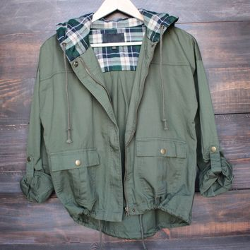 lightweight green utility jacket with plaid hood