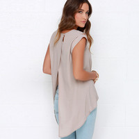 Light Grey Sleeveless Shoulder Cut-out Top with Back Slit