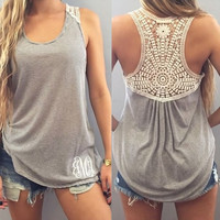 2016 Women Casual Summer Embroidery Lace Crochet Tank Tops Vest  Sleeveless Striped Tops T-shirt NS282