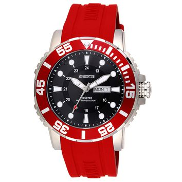 Momentus FS311S-04RD Men's Functional Sport Black Dial Red Rubber Strap Watch