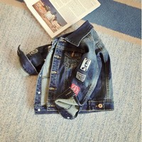 Trendy Children Boys Girls Jackets Cool Kid Long Sleeves Coats Pocket Girl Boys Pattern Denim Outerwear Baby Kids Clothes AT_94_13