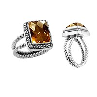 "AR-1040-CT-7"" Sterling Silver Ring With Citrine Q."