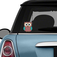 Colorful Owl Car Decal Sticker: Geometric Pattern Cute Owl Bumper Sticker Laptop Decal Pink Teal Coral Brown