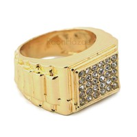 """HIP HOP FASHION SOLID """"CLASSIC"""" GOLD PLATED RING BK003G"""