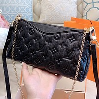 LV New fashion monogram print leather chain shoulder bag crossbody bag Black