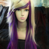 ON SALE - Purple and Blonde / Long Straight Layered Wig