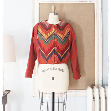 """Bohemian Vtg 70's Aztec """"HANDMADE"""" Colorful Embroidered Crop Jacket"""