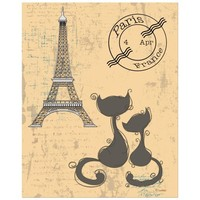 8x10 Whimsical Cats And Eiffel Tower Art Print