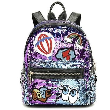 Student Backpack Children Rdywbu Glitter Sequins Rivet Backpack Girls Fashion Travel Rucksack Students Cute Eyes Rainbow Patched School Bag Mochilas B484 AT_49_3