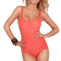 Womens One Piece V Neck Ruched Shirred Slimming Sexy Moderate Coverage Swimsuit
