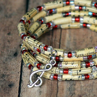 Candy Cane Bracelet - Music Bracelet in Red and Silver  - Beads Upcycled from Vintage Hymnal - Memory Wire -  Spiral Wrap Bracelet