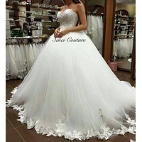 9081 2017 lace edge White Ivory Prom Gown Lace up back Wedding Dresses for bride Vintage plus size maxi Customer made size 2-26W