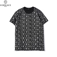 Versace Popular Men Women Casual Print Round Collar T-Shirt Top Black