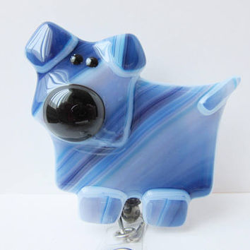 Blue Dog ID Card Holder, ID Clip, Retractable ID Badge for Veterinarian or Nurse, Name Badge Reel, Dog Lover Gift, Whimsical Dog Figure
