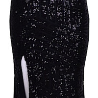 Adrianna Geometric Sequin Long Dress, Midnight Black - ONLY 2 LEFT!