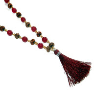 Cranberry Pink and Gold, Long, Beaded Necklace with Tassle