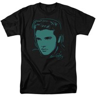 Elvis Presley T-Shirt Dots Portrait Black Tee