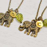 best friend necklace, good luck gift, elephant necklace set, daughter niece gift, animal necklace, bff, sister gift, mother daughter jewelry