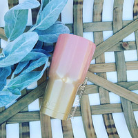 Guava and gold powder coated tumbler, Yeti Painted, Custom powder coat, Glitter ozark, Custom tumbler, Custom cup