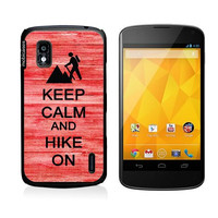 Keep Calm And Hike On Red-Wood Google Nexus 4 Case - For Nexus 4