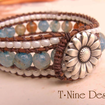Beaded Leather Cuff Bracelet, Blue/Brown/White Marble Agate, Silver daisy flower, Shabby boho, Hand Beaded