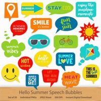 Hello Summer Speech Bubbles Printable Planner Stickers Digital Scrapbooking Clipart Callouts Phrases Labels Clip Art Memory Keeping Word