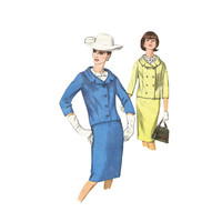 60s Misses Mad Men Suit Sewing Pattern Double Breasted Short Jacket Slim Skirt Size 14 Bust 34 Simplicity 5828