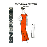 1960s Evening Sheath Dress Pattern Polynesian 162 Bust 38 Maxi Dress Hawaiiana Lokelani Rosettes and Ruffles Womens Vintage Sewing Patterns
