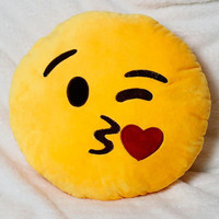 Yellow Kiss Emoji Pillow