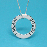 Dream necklace 925 Sterling silver washer pendant