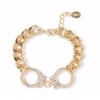 Crystal Studded Handcuff and Chain Link Bracelet  | Claire's