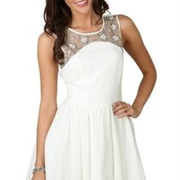 A-Line Dress with Beaded Illusion Neckline and Deep V Back