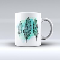 The Pen & Watercolor Feathers ink-Fuzed Ceramic Coffee Mug