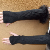 Long Black Hand Knitted Fingerless Gloves - Arm Warmer with Furry Edge - Winter Fashion - Vegan Friendly