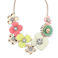 collar cute jewelry accessories Fashion rhinestone necklace colorful enamel big flower statement necklace for women