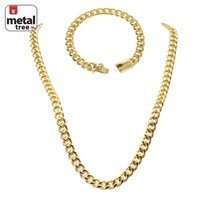 """Jewelry Kay style Men's 9 mm Stainless Steel Cuban Link 24"""" Chain Necklace & 9"""" Bracelet SET"""