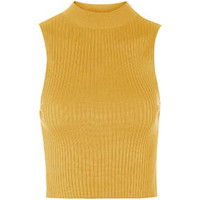 '90s Knitted Ribbed Crop Top - Ochre